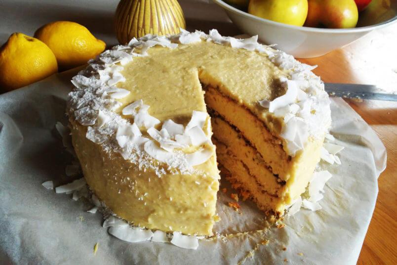 Gluten-free coconut layer cake with millet mango cream ...