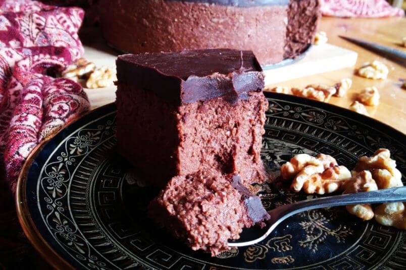 Creamy chocolate millet cheesecake - vegan millet groats cake