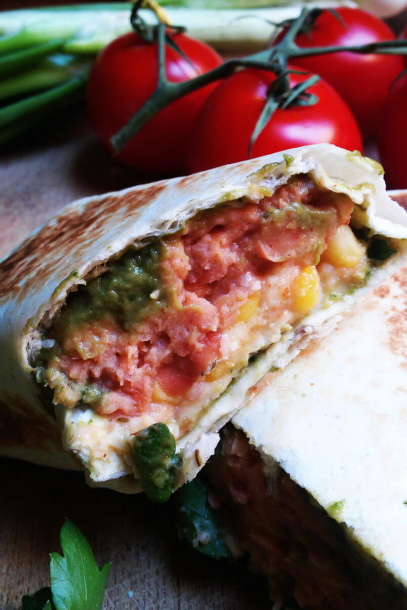 Lazy vegan burrito - satiating stuffed tortilla in 10 minutes
